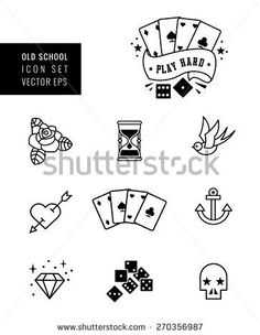 stock-vector-tattoo-icon-set-rockabilly-and-old-school-design-black-and-white-270356987.jpg (364×470)