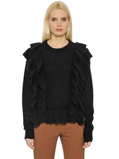 DESIGNERS REMIX MOHAIR WOOL KNIT SWEATER WITH RUFFLES, BLACK. #designersremix #cloth #knitwear