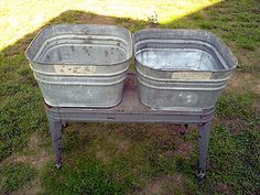 vintage wheeling double galvanized wash tub stand planter ebay outdoor spaces pinterest. Black Bedroom Furniture Sets. Home Design Ideas