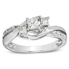 1/2 CT. T.W. Princess-Cut Diamond Three Stone Swirl Ring in 14K White Gold