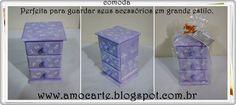 Cômoda com detalhe em relevo - mdf madeira - perfeita para guardar seus acessórios em grande estilo. http://www.amocarte.blogspot.com.br/