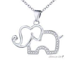 Anhänger Elefant aus 925 Silber mit Zirkonias  inkl....