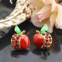 Red alliage d'Apple boucles d'oreilles diamant
