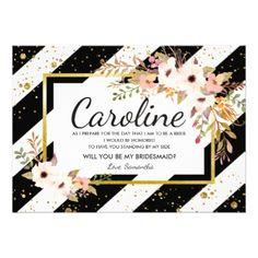 #Floral Will You Be My Bridesmaid Invitations - #bridesmaid gifts #bridal bride wedding marriage