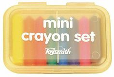 Mini Crayon Set by Hyatt's. $3.45. Offers 8 per package. Comes in a snap close case. Recommended age: 3 years and up. An assortment of mini crayons. Assorted case colors: Case colors may vary. Mini plastic box with clear lid holds a set of tiny colorful crayons.