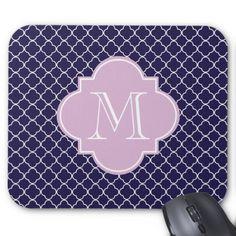 Navy and Purple Quatrefoil Custom Monogram Mouse Pad