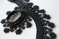Black collar lace necklace with beaded by irregularexpressions