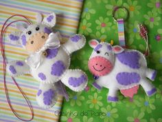 Sweet Happy purple felt cows adapt for baby mobile? Cute Crafts, Felt Crafts, Crafts To Make, Cow Ornaments, Operation Christmas Child, Toy Craft, Felt Fabric, Textiles, Felt Art