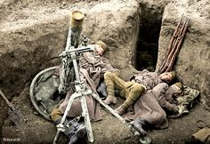 Russian soldiers during World War 2, color photo 37