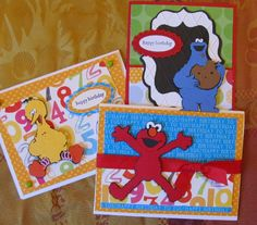 Elmo, Cookie Monster, and Big Bird Birthday Cards Using Sesame Street Friends Cricut Cartridge - Go to the link for more details and instructions.