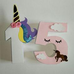 15 años al estilo #unicornio #unicorn #numeros3d  #hechoamano