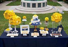 casamento azul royal e amarelo