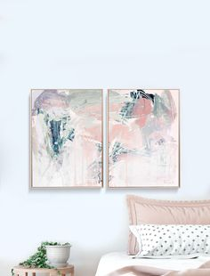 Set of 2 Prints, Abstract Art Print Set, 2 Abstract Prints, Art, Printable . - Home is where your is. Pink Canvas Art, Wall Art Sets, Home Decor Wall Art, Abstract Wall Art, Colorful Decor, Diy Art, Printable Wall Art, Decoration, Art Print