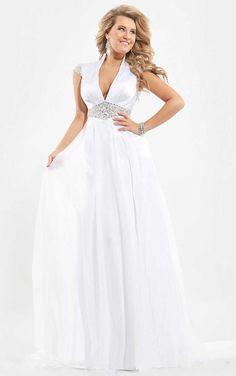 A-line Chiffon Cap Sleeves V-neck Long Prom Dresses