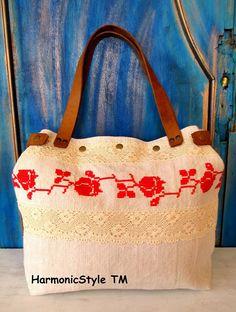 3-V. upcycled hand embroidered bag/linen bag/upcycled antique embroidery/linen shoulder bag/hand embroidery bag/reused embroidery/handbag