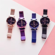 A classic look, this fashion quartz wrist watch is specially designed with a magnetic band. The fashionable particular starry sky design makes it stunning. Stylish Watches, Luxury Watches, Uganda, Sky Design, Skeleton Watches, Waterproof Watch, Apple Watch Bands, Stargazing, Quartz Watch