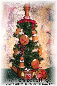 hand painted teapot and ornaments/Christmas tree