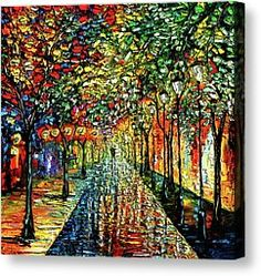 Rain Night Painting - Summer Rain Canvas Print by Beata Sasik