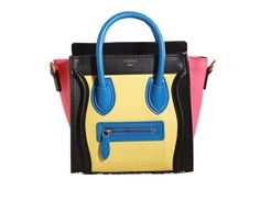 661a007057 Celine Luggage Nano Boston Bag Original Leather 3309 Lemon Black Blue Red