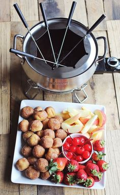 Chocolate Fondue  This would make an awesome dinner party dessert with your lovely friends. Go check out this simple recipe.