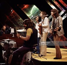 Moody Blues perform on BBC Top of the Pops, July 1971, L-R Mike Pinder, Graeme Edge, Ray Thomas, Justin Hayward, John Lodge.