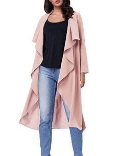 Womens Long Sleeve Lapel Collar Trench Coat Outwear Open Waterfall Drape Cardigan with Belt Rain Trench Coat, Mode Mantel, Drape Cardigan, Long Jackets, Jackets Online, Cardigans For Women, Ideias Fashion, Womens Fashion, Clothes
