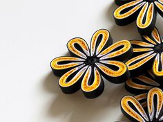 Flowers Yellow Black Table Confetti Dinner Party Ornaments Baby Shower Bridal Shower Party Decorations Gift Fillers Additions Paper Quilling Art 10 pcs These are unique handmade quilled flowers. Perfect for any joyful occasion! Can be used as dinner table confetti decorations for baby shower, bridal shower or wedding. Also makes wonderful gift fillers for office presents and scrapbooking embellishments as well! This listing is for 10 pieces. Dimensions of one flower are 1.5 ″ x 1.5 ″ (4 cm…