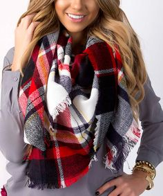 red and black plaid blanket scarf #affiliate