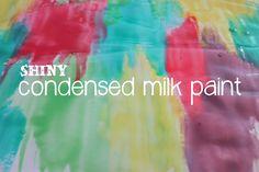 Shiny Condensed Milk Paint-- LOVE this idea! Art Painting Supplies, Painting For Kids, Art For Kids, Kid Art, Toddler Crafts, Preschool Crafts, Preschool Ideas, Kids Crafts, Craft Ideas