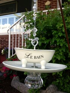 """Sold ... """"French Bath Tub"""" Bird feeder with lots of bling :)"""