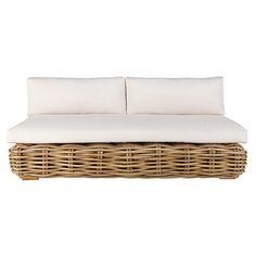 3-seat rattan garden bench with ecstatic cushions