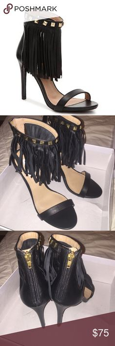 "Nib Steve Madden Siooux Black Leather Fringe heels This is a new in box pair of Steve Madden heels. Never been worn. Black fringe with gold metal details. Size 7.5.  The Steve Madden Sioux takes the fringe trend to an edgy new level. With a stud embellished ankle strap and fringe detail, these sandals will have you standing out from the rest. Leather upper Back zipper for easy on/off Ankle strap with fringe detail Stud embellishments 4"" leather heel Synthetic sole Steve Madden Shoes Heels"