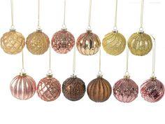 Présentoir 12 boules de Noel en verre de couleur à suspendre