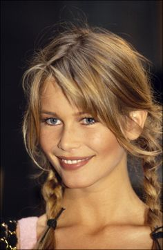 Claudia Schiffer at Chanel Haute-Couture Fall-Winter in Paris,1993 // #stunning #iconic #pigtails