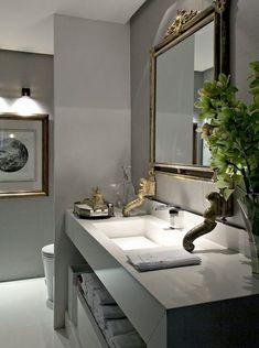 Uma seleção com 12 lavabos em tons de cinza maravilhosos. Vários estilos e diversos tipos de acabamento, de tinta a papel de parede.