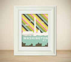 Urban Chic Loft Wall Art City Skyline Poster - Washington D.C. in Rainbow - 8x10 Travel Illustration and Typography Print. $20.00, via Etsy.