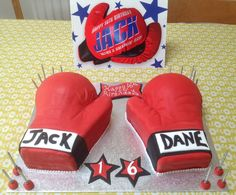Boxing glove birthday cake for son's 16th birthday.