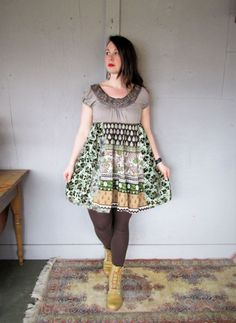 M L upcycled dress recycled clothing earthy by lillienoradrygoods