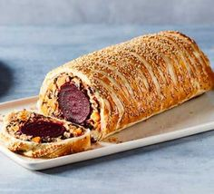 Create a vegetarian centrepiece with this meat-free wellington with beetroot, mushroom and butternut squash wrapped in pastry. It's ideal for a celebration Bbc Good Food Recipes, Vegetarian Recipes Dinner, Vegan Recipes, Dinner Recipes, Vegetarian Food, Bbc Recipes, Vegetarian Options, Party Recipes, Quick Recipes
