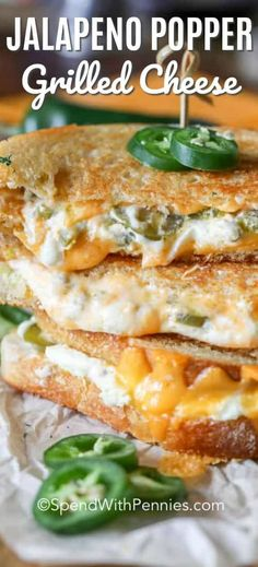 What could possibly be better than grilled cheese? How about a jalapeño popper grilled cheese! With cream cheese, sourdough bread and jalapeños this spicy treat is irresistible. recipe lunch Jalapeño Popper Grilled Cheese - Spend With Pennies Grilling Recipes, Lunch Recipes, Vegetarian Recipes, Cooking Recipes, Burger Recipes, Vegetable Recipes, Cake Recipes, Healthy Recipes, Grilled Cheese Recipes