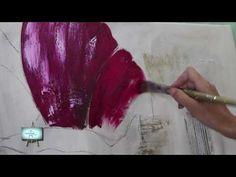 2º Parte!!! Cuadro con fondo de diferentes texturas y flor de amapola!!! - YouTube