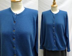 Plus Size 1990s Does 1950s Blue Cashmere Cardigan Sweater, Size XL by HiddenTreasureHunter on Etsy