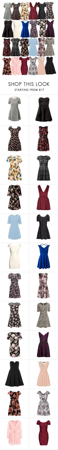 """Lydia Inspired UK Friendly Dresses"" by veterization ❤ liked on Polyvore featuring Cameo Rose, AX Paris, Mela Loves London, Koko, Poppy Lux, Rare London, Topshop, H&M, Miss Selfridge and Warehouse"