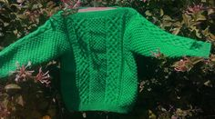 Child's handknit green aran sweater with slash by bebbyjumpers, £22.00