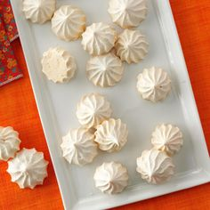 Vanilla Meringue Cookies Recipe -This meringue cookie is light, airy morsels and the perfect fat-free treat to really beat a sweets craving. —Jenni Sharp, Milwaukee, Wisconsin