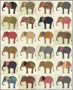 Elephants Applique pattern by Laundry Basket Quilts. Finished quilt size is x always we combine shipping to save you money! Elephant Quilts Pattern, Elephant Stencil, Elephant Applique, Applique Quilt Patterns, Block Patterns, Pattern Ideas, Applique Designs, Print Patterns, Sewing Patterns