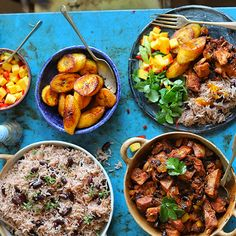 Cook Up A Vegan Caribbean Feast with Recipes: Jerk Jackfruit, Rice & Beans, Fried Plantain, Mango Salad. Carribean Food, Caribbean Recipes, Veggie Recipes, Vegetarian Recipes, Healthy Recipes, Vegan Meals, Healthy Foods, Free Recipes, Soup Recipes