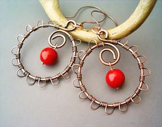 Wire Wrapped Earrings OldLooking Copper With Red by GearsFactory, €16.00