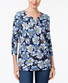 Karen Scott Print Henley Top, Created for Macy's - Purple XXL