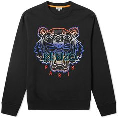 Kenzo Sweatshirt With Embroidered Tiger In Black Versace Tracksuit, Kenzo Clothing, Traditional Kimono, Fashion Line, Orange And Purple, Japanese Fashion, Central Park, Sweater Hoodie, Streetwear